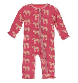 Kickee Pants Muff. Ruff. Coverall w/ Zipper Red Ginger Unicorns