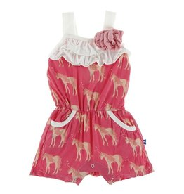 Kickee Pants Flower Romper w/ Pockets Red Ginger Unicorns