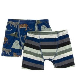 Kickee Pants Boxer Briefs Set (Flag Blue Cats/Zoology Stripe)