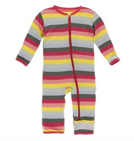 Kickee Pants Coverall w/ Zipper Biology Stripe