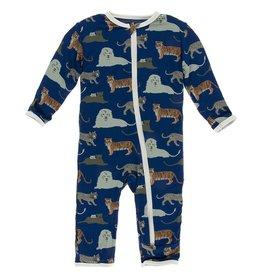 Kickee Pants Coverall w/ Zipper Flag Blue Big Cats