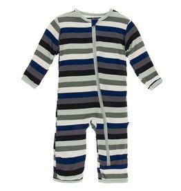 Kickee Pants Coverall w/ Zipper Zoology Stripe