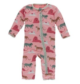 Kickee Pants Muff. Ruff. Coverall w/ Zipper Strawberry Big Cats