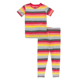 Kickee Pants SS PJ Set Biology Stripe