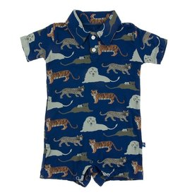 Kickee Pants SS Polo Romper Flag Blue Big Cats