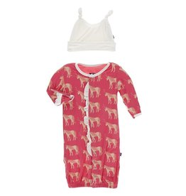 Kickee Pants Ruff. Gown Converter & Hat Set Red Ginger Unicorns