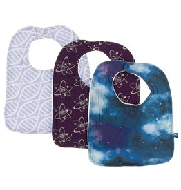 Kickee Pants Bib Set (Lilac Helix/Wine Atoms/Wine Galaxy)