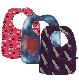 Kickee Pants Bib Set (Red Ginger Aliens/Red Ginger Galaxy/Wine Rockets)
