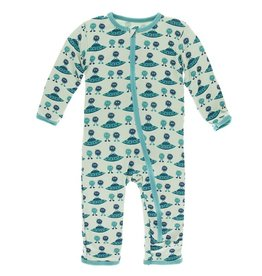 Kickee Pants Coverall w/ Zipper Aloe Aliens