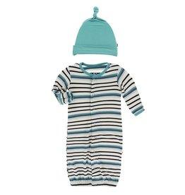 Kickee Pants Gown Converter & Hat Set Neptune Stripe