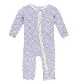 Kickee Pants Muff. Ruff. Coverall w/ Zipper Lilac Double Helix