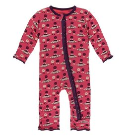 Kickee Pants Muff. Ruff. Coverall w/ Zipper Red Ginger Aliens