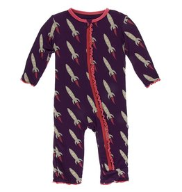 Kickee Pants Muff. Ruff. Coverall w/ Zipper Wine Grapes Rockets