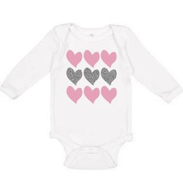 Sweet Wink Triple Heart LS Bodysuit White