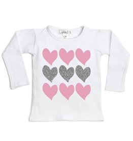 Sweet Wink Triple Heart LS Shirt White