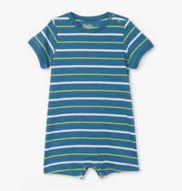 Hatley Ocean Stripes Baby Romper Moroccan Blue