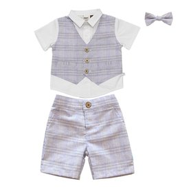 Fore!! Axel & Hudson Blue Plaid Vest Shirt & Short & Bowtie Set
