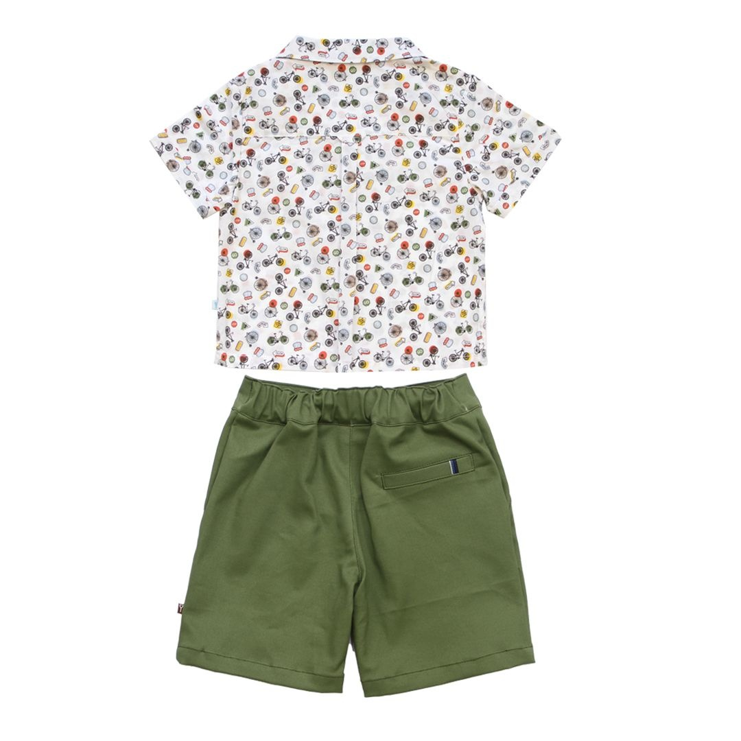 Fore!! Axel & Hudson Route 66 Camp Shirt & Olive Short Set