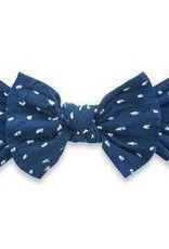 Baby Bling Patterned Shabby Knot Navy Dot