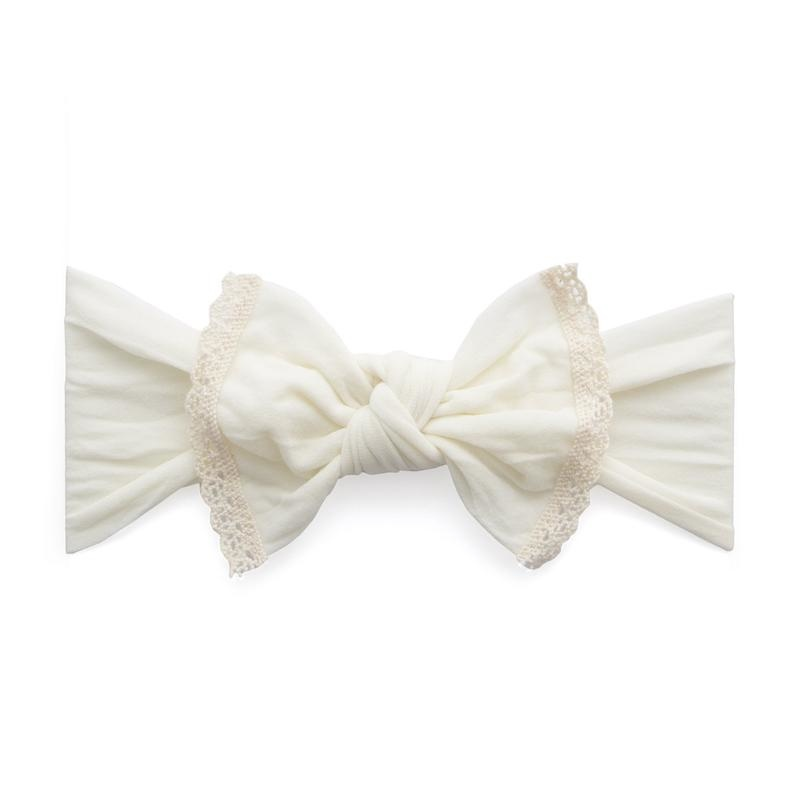 Baby Bling Trimmed Classic Knot Ivory Lace