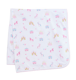 Kissy Kissy Pink Unicorn Castle Print Blanket