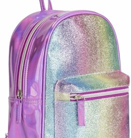 Three Cheers for Girls! Pink Striped Glitter Mini Backpack