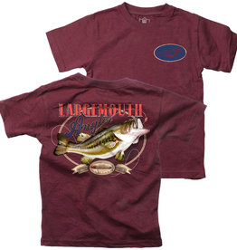 Wes And Willy Largemouth Angler SS Tee Maroon Blend