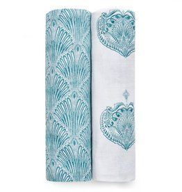 Aden & Anais Paisley Teal Multi 2-Pack Classic Swaddles