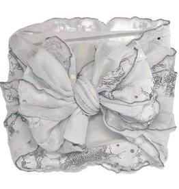 In Awe Couture Ruffle Headband White Willow Silver Sequin