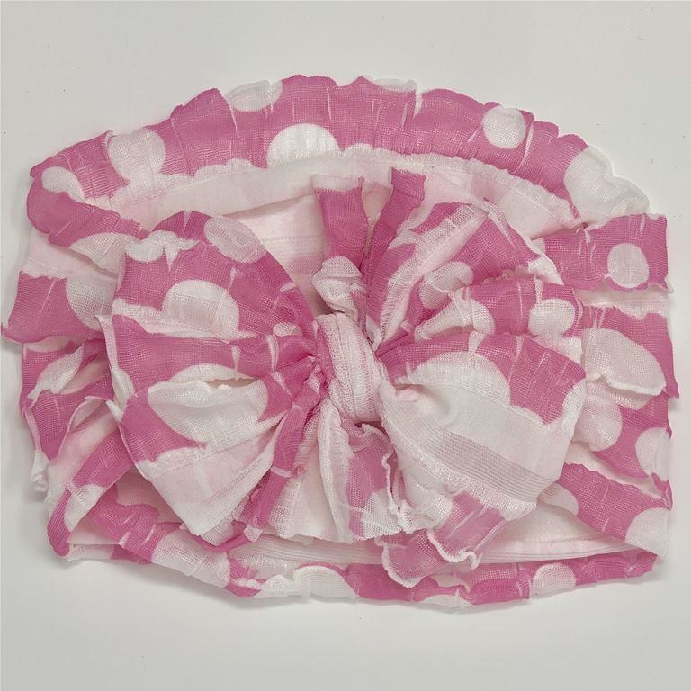 In Awe Couture Ruffle Headband Bubbles Pink/White