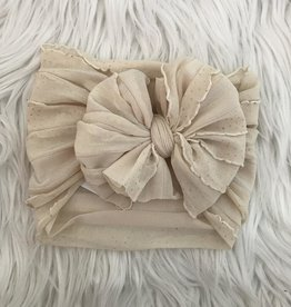 In Awe Couture Ruffle Headband Vintage Ivory Gold Glitter