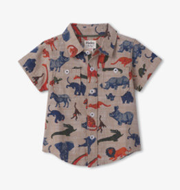Hatley Jungle Safari Button Down Shirt Oatmeal Melange