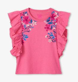 Hatley Summer Blooms Ruffle Tee Geranium Pink
