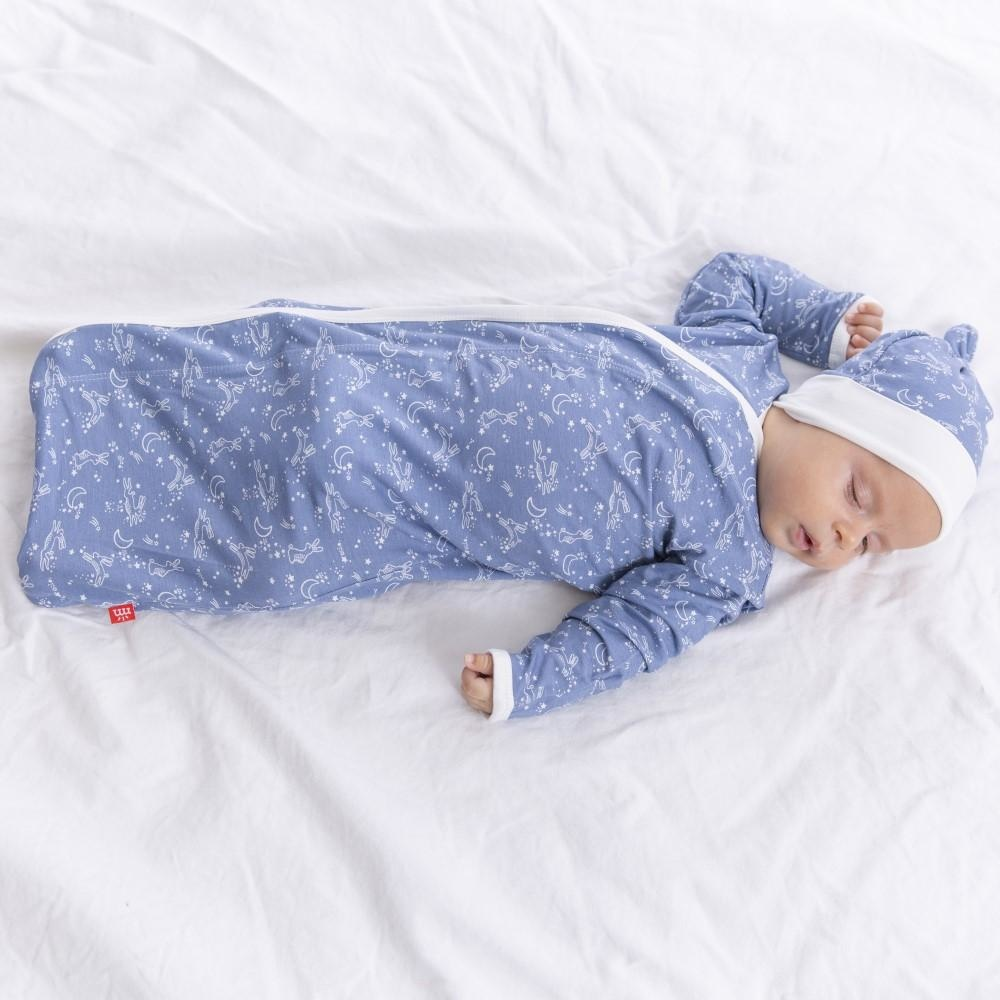 Magnificent Baby Blue Sky Bunny Modal Magnetic Gown Set, NB/3M