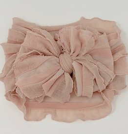 In Awe Couture Ruffle Headband Dusty Pink Blush