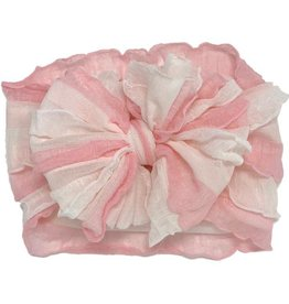 In Awe Couture Ruffle Headband Pink Parfait Stripe