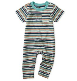 Tea Collection Striped Pocket Romper Coriander