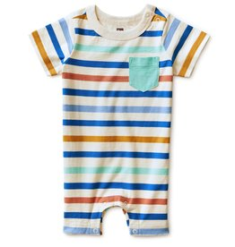 Tea Collection Chest Pocket Romper Birch