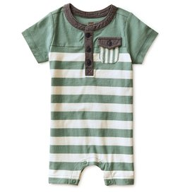 Tea Collection Colorblocked Henley Romper Sagebrush