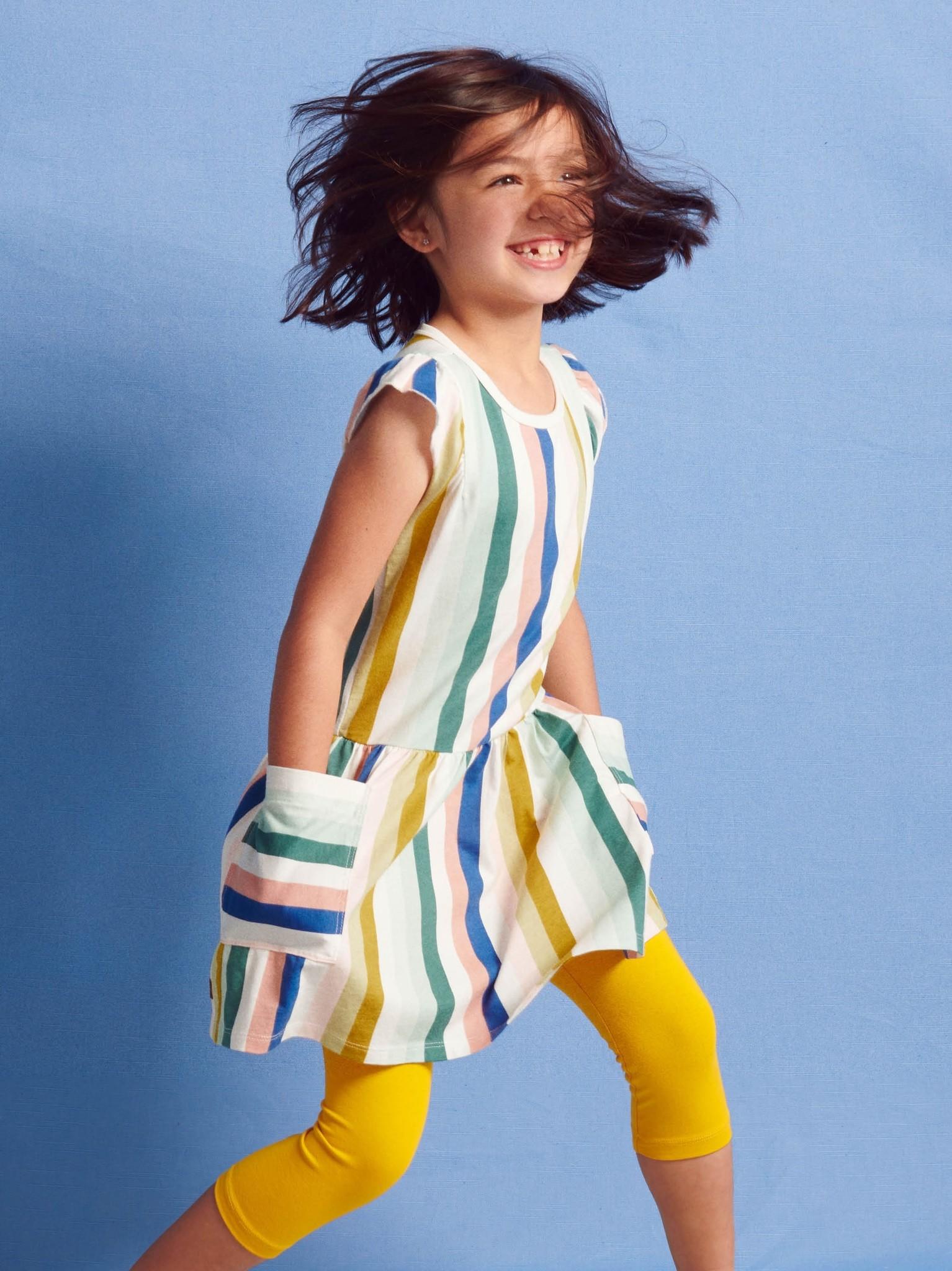 Tea Collection Pocket Dress Chalk (Vertical Stripes)