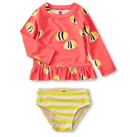 Tea Collection Ruffle Rash Guard Swimsuit Set Angelfish
