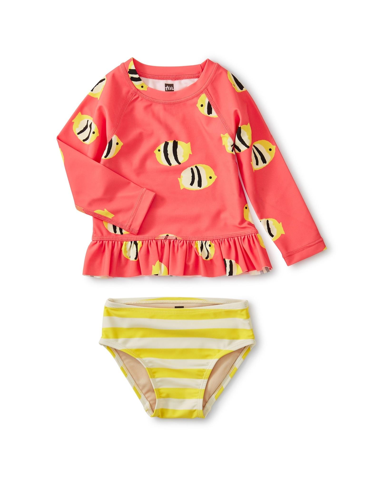 Tea Collection Ruffle Rash Guard Swimsuit Set Angelfish