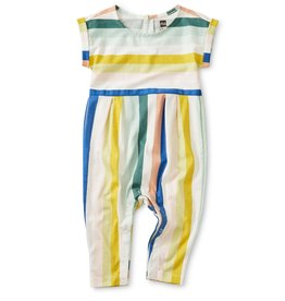 Tea Collection Chalk (Multi Stripe) Cuff Sleeve Romper