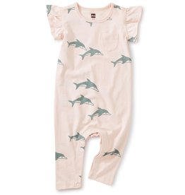 Tea Collection Dolphins Crystal Pink Pocket Romper
