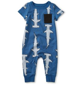 Tea Collection Hammerheads Cuffed Pocket Romper