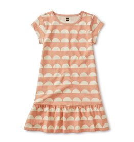 Tea Collection Sun Tile Dusty Coral Ruffle Hem Dress
