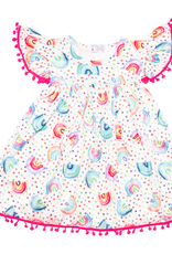 Mila & Rose Rainbow Dot Pom Pom Dress