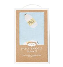 Mud Pie Blue Milk Swaddle Blanket