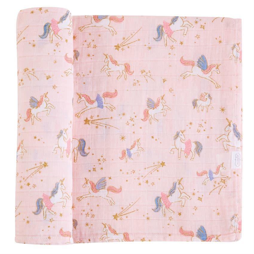 Mud Pie Muslin Unicorn Swaddle Blanket (Pink)