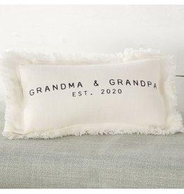 Mud Pie Grandma Grandpa Est 2020 Pillow